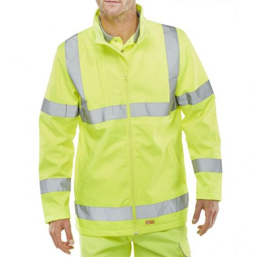 BSeen Hi Vis Yellow Soft Shell Jacket